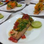 Baked Salmon, Julienne Vegetables and Lime