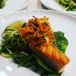 Salmon, julienne vegetables