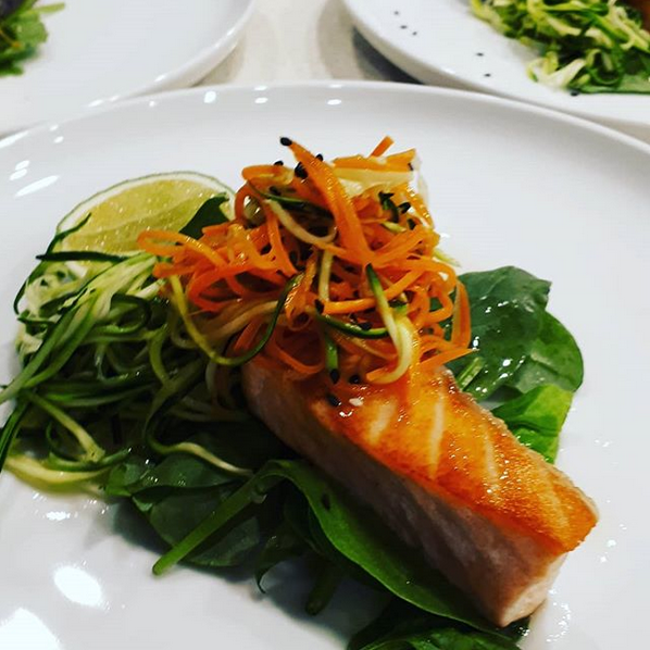 Salmon, julienne vegetables